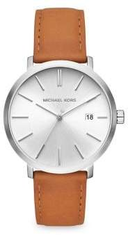 Michael Kors Blake Stainless Steel Leather-Strap Watch