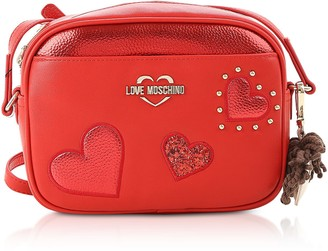 Love Moschino Metallic Red Grainy Eco-leather Camera Bag