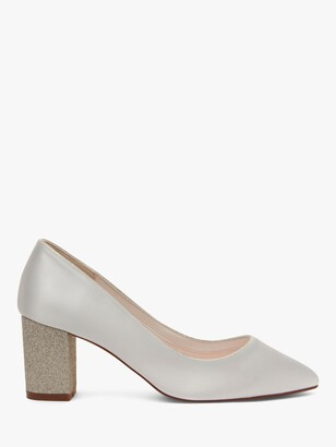 Rainbow Club Bambi Block Heel Court Shoes, Ivory