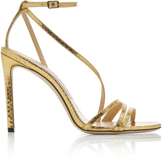 Jimmy Choo Tesca Snake-Effect Metallic Leather Sandals