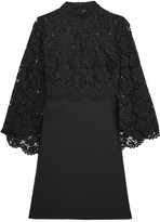 Valentino Cape-back Corded Lace And Wool-blend Mini Dress - Black