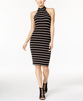 Teeze Me Juniors' Striped Mock-Neck Bodycon Dress