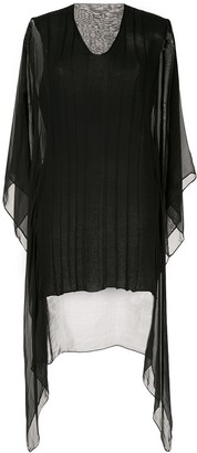 Masnada Sheer Panel Draped Top