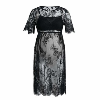 Harpily Womens Maternity Dress Short Sleeve Lace Photography Fancy Dress Pregnancy Clothes for Photo Shoot Wedding Evening Party