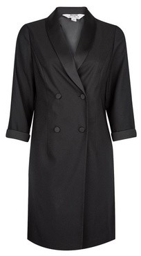 Dorothy Perkins Womens Petite Black Tuxedo Dress, Black