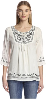 James & Erin Women's Embroidered Peasant Top with Tassel