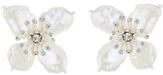 Oscar de la Renta White Pearl Flower Earrings