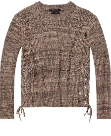 Maison Scotch Lattice Side Knit Pullover - 8 - Grey/Brown
