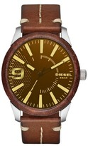 Diesel Rasp Leather Wrapped Strap Watch, 46Mm