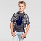 art class Boys' Camo Woven Button Down Shirt - Art Class Charcoal Camo