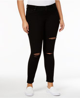 Celebrity Pink Trendy Plus Sized Ripped Skinny Jeans