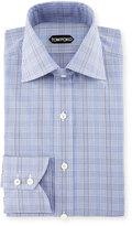 Tom Ford Bicolor Subtle Overcheck Slim-Fit Shirt, Blue