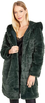 Apparis Celina Faux Fur Coat (Army Green) Women's Clothing