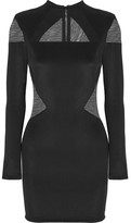 Balmain Tulle-paneled Stretch-jersey Mini Dress - Black