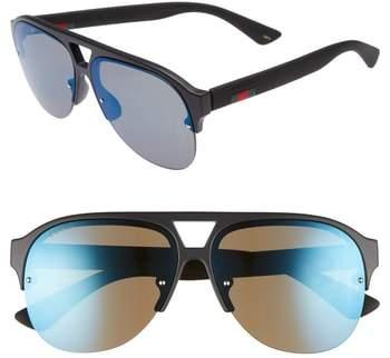 Gucci 59mm Semi Rimless Sunglasses