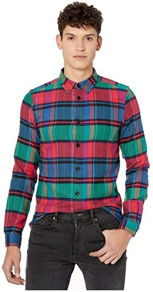 Paul Smith Tailored Fit Printed Denim Button-Down Shirt (Red Flannel) Men's Clothing
