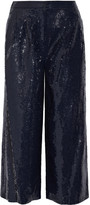 Tibi Nerd cropped sequined crepe wide-leg pants