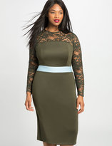 ELOQUII Plus Size Studio Fitted Lace Overlay Dress