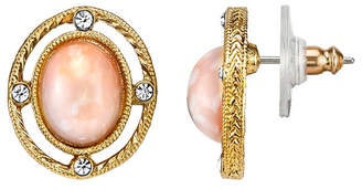 Downton Abbey Gold-Tone Peach Color Stone and Crystal Oval Button Earrings