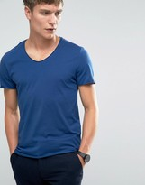 Selected V-Neck Raw Edge T-Shirt