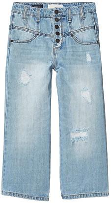 Habitual Hadley Multi Snaps Wide Leg Jeans (Big Kids) (Medium Stone) Girl's Jeans