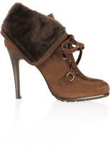 Shearling and suede ankle boots