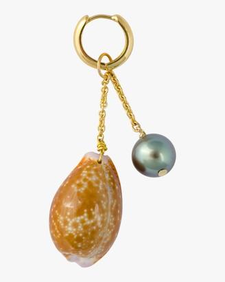 Haute Victoire Single Charm Tahitian Pearl Shell Earring