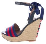 Tabitha Simmons Striped Espadrille Wedge Sandals