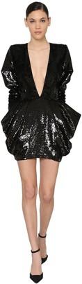Alexandre Vauthier V Neck Sequined Velvet Mini Dress