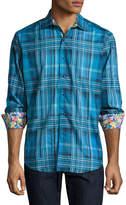 Robert Graham Lazio Ombre Plaid Jacquard Sport Shirt, Bright Blue