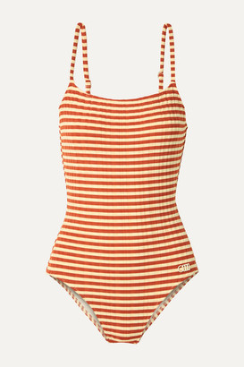 Solid & Striped The Nina Striped Ribbed Swimsuit - Brick
