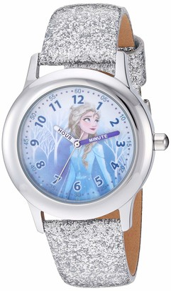 Disney Girls' Frozen 2 Stainless Steel Analog Quartz Watch with Patent Leather Strap White 15 (Model: WDS000798)