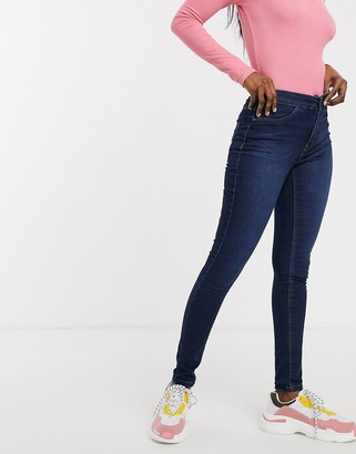 JDY Ella high waisted skinny jeans-Blue
