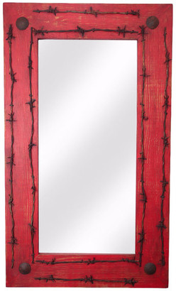 My Amigos Imports Old Ranch Rustic Mirror, Red