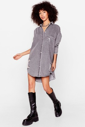 Nasty Gal Womens When This Is Oversized Distressed Denim Shirt - Grey
