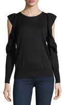 Joie Lucasta Crewneck Cold-Shoulder Sweater