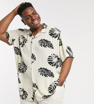 ASOS DESIGN Plus relaxed revere large scale floral shirt in crinkle viscose