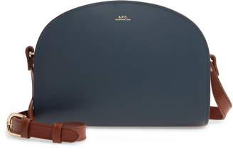 A.P.C. Sac Demi Lune Colorblock Leather Crossbody Bag