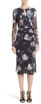 Fuzzi Women's Floral Print Tulle Keyhole Dress