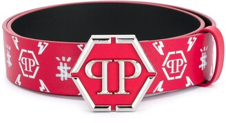 Philipp Plein hexagon PP buckle belt