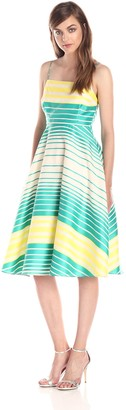Tracy Reese Women's Mixed Stripe Fit and Flare Frock Dress