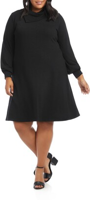 Karen Kane Drape Neck Long Sleeve Dress