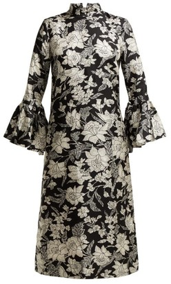 La DoubleJ Happy Wrist Lungo Lilium-print Silk Dress - Black Print