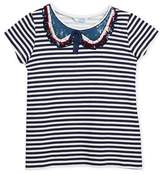 Mayoral Short-Sleeve Striped T-Shirt w/ Sequin Peter Pan Collar, Size 8-14