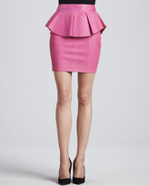 Torn By Ronny Kobo Gigi Leather Peplum Skirt, Pink