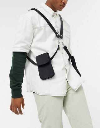 Asos Design DESIGN cross body harness holster bag in black