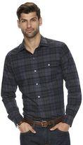 Van Heusen Men's Classic-Fit Plaid Heathered Button-Down Shirt