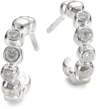 Ippolita Stardust Mini Sterling Silver & Diamond Hoop Earrings