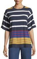 KENDALL + KYLIE Multi-Stripe Short-Sleeve Top