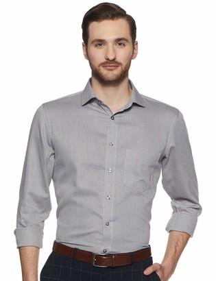 Shaftesbury London Men's Slim Fit Long Sleeves Spread Collar Dress Shirt 16.5 Brown